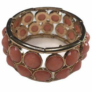 Vintage Stretch Bracelet Salmon Costume Jewelry